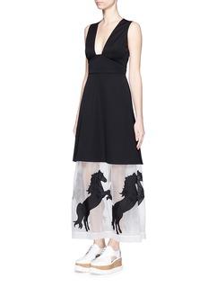 STELLA MCCARTNEY'Selina' running horses embroidery organza crepe dress