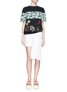 STELLA MCCARTNEY Poppy print panel floral embroidery cotton sweatshirt