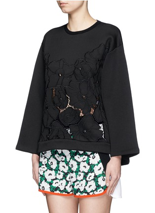 Front View - Click To Enlarge - Stella McCartney - Floral embroidery cutwork scuba jersey sweatshirt