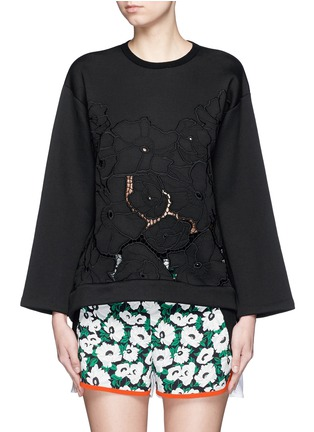 Main View - Click To Enlarge - Stella McCartney - Floral embroidery cutwork scuba jersey sweatshirt
