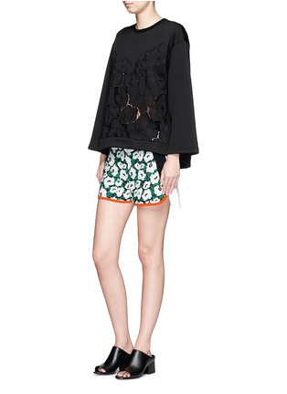 Figure View - Click To Enlarge - Stella McCartney - Floral embroidery cutwork scuba jersey sweatshirt