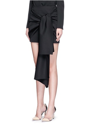 Front View - Click To Enlarge - Stella McCartney - 'Peggy' sash tie tuxedo wool mini skirt