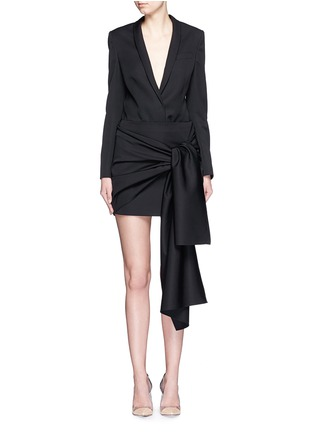Figure View - Click To Enlarge - Stella McCartney - 'Peggy' sash tie tuxedo wool mini skirt