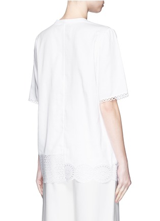 Back View - Click To Enlarge - Stella McCartney - Broderie anglaise trim poplin top