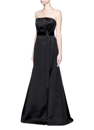 Front View - Click To Enlarge - JASON WU - Silk-cotton sateen belted strapless gown