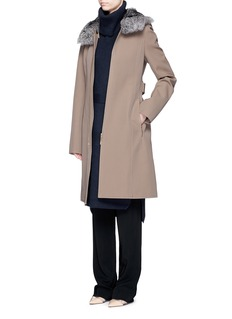 JASON WU Rabbit fur collar virgin wool twill coat