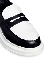 Contrast vamp leather penny loafers