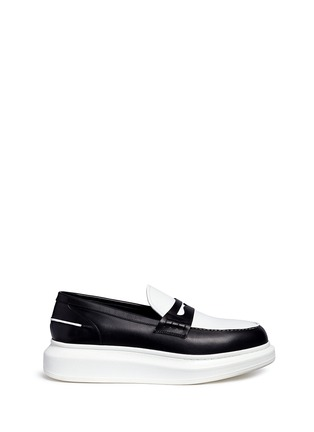 Main View - Click To Enlarge - Alexander McQueen - Contrast vamp leather penny loafers