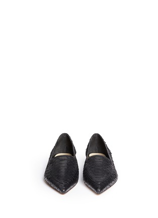 Front View - Click To Enlarge - ALEXANDRE BIRMAN - 'Biancca' python leather flats