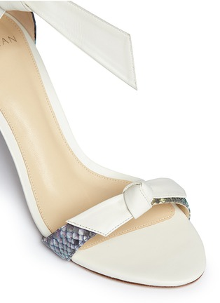 Detail View - Click To Enlarge - ALEXANDRE BIRMAN - 'Patty' bow band python leather sandals