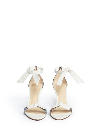 Front View - Click To Enlarge - ALEXANDRE BIRMAN - 'Patty' bow band python leather sandals
