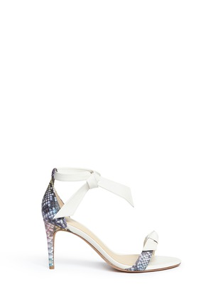 Main View - Click To Enlarge - ALEXANDRE BIRMAN - 'Patty' bow band python leather sandals