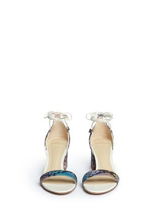 Front View - Click To Enlarge - ALEXANDRE BIRMAN - 'Lovely' python leather block heel sandals