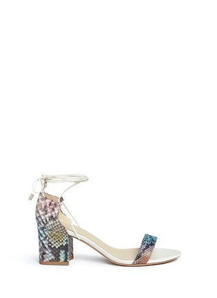 Main View - Click To Enlarge - ALEXANDRE BIRMAN - 'Lovely' python leather block heel sandals