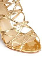 'Nim' metallic python leather caged sandals
