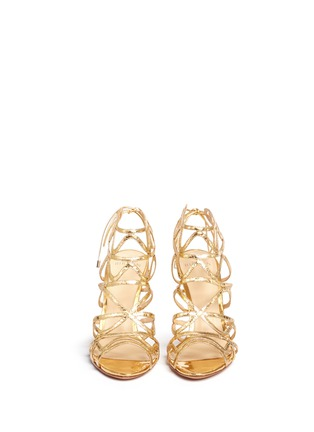 Front View - Click To Enlarge - ALEXANDRE BIRMAN - 'Nim' metallic python leather caged sandals