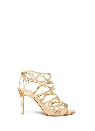 Main View - Click To Enlarge - ALEXANDRE BIRMAN - 'Nim' metallic python leather caged sandals