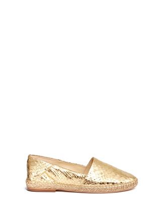 Main View - Click To Enlarge - ALEXANDRE BIRMAN - 'Marla' metallic python leather espadrilles