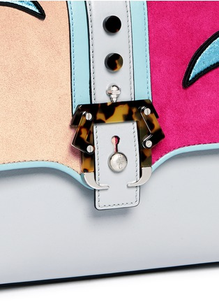 Detail View - Click To Enlarge - PAULA CADEMARTORI - 'Petite Faye' colourblock bird embroidery leather bag