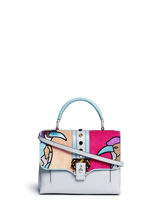 Main View - Click To Enlarge - PAULA CADEMARTORI - 'Petite Faye' colourblock bird embroidery leather bag