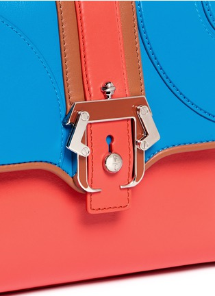 Detail View - Click To Enlarge - PAULA CADEMARTORI - 'Petite Faye' lizard embossed leather colourblock satchel