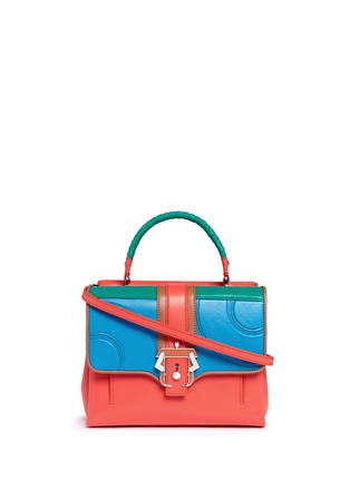 Main View - Click To Enlarge - PAULA CADEMARTORI - 'Petite Faye' lizard embossed leather colourblock satchel
