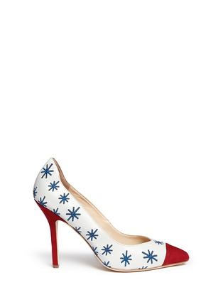 Main View - Click To Enlarge - Isa Tapia - 'Estrella' star embroidery suede trim leather pumps