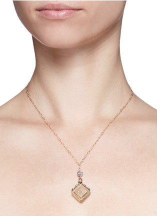 Detail View - Click To Enlarge - Antique Lockets - Keshi pearl 14k gold chain square antique locket necklace