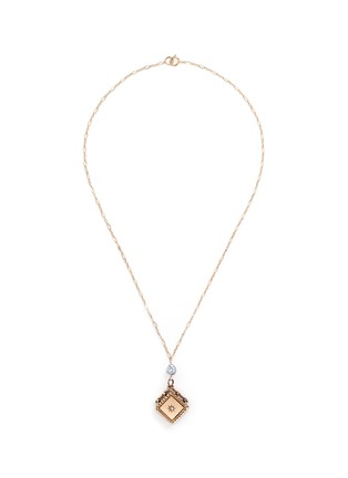 Main View - Click To Enlarge - Antique Lockets - Keshi pearl 14k gold chain square antique locket necklace