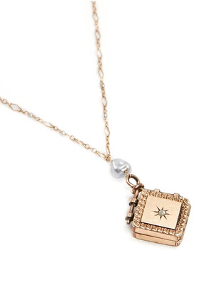 Figure View - Click To Enlarge - Antique Lockets - Keshi pearl 14k gold chain square antique locket necklace
