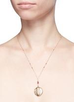 Tourmaline 14k gold chain round antique locket necklace