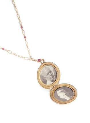 Detail View - Click To Enlarge - Antique Lockets - Tourmaline 14k gold chain round antique locket necklace