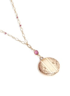 Antique Lockets Tourmaline 14k gold chain round antique locket necklace
