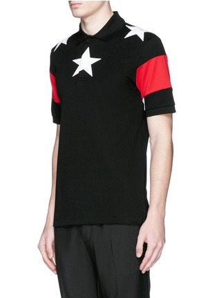 Front View - Click To Enlarge - Givenchy Beauty - Star appliqué colourblock polo shirt