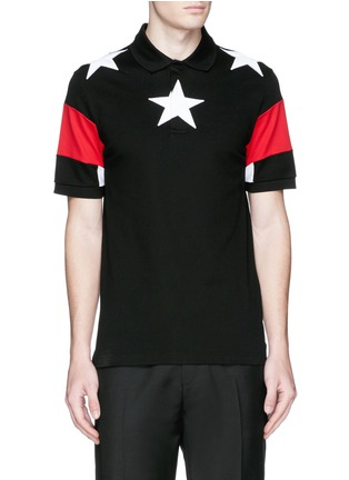 Main View - Click To Enlarge - Givenchy Beauty - Star appliqué colourblock polo shirt
