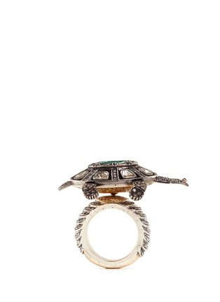 Detail View - Click To Enlarge - Aishwarya - Diamond pavé emerald ruby turtle ring