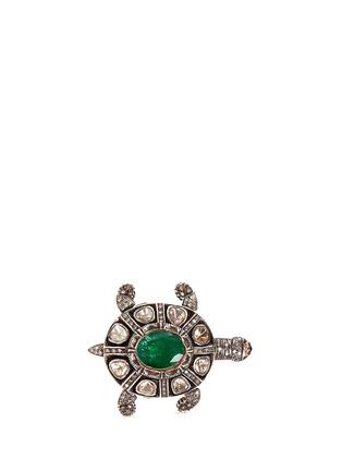 Aishwarya-Diamond pavé emerald ruby turtle ring