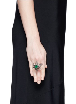 Figure View - Click To Enlarge - Aishwarya - Diamond pavé emerald ruby turtle ring