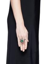 Diamond pavé emerald ruby turtle ring