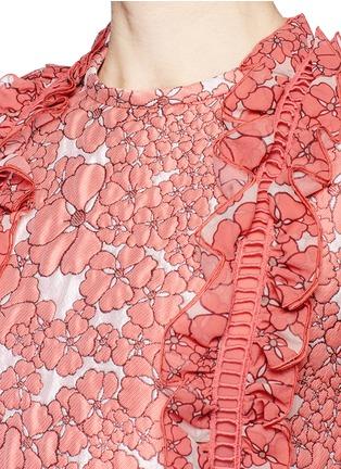 Detail View - Click To Enlarge - Giamba - Ruffle ladder stitch floral matelassé dress