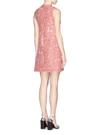 Back View - Click To Enlarge - Giamba - Ruffle ladder stitch floral matelassé dress
