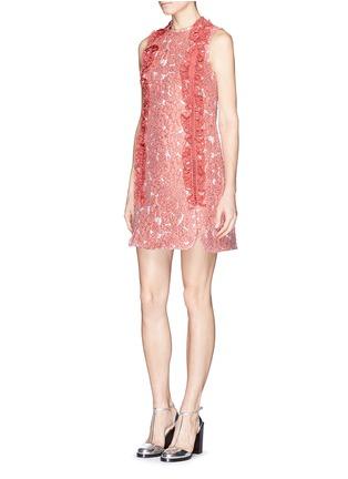Figure View - Click To Enlarge - Giamba - Ruffle ladder stitch floral matelassé dress