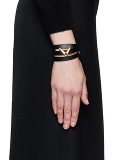 VALENTINO 'V' charm leather wrap bracelet