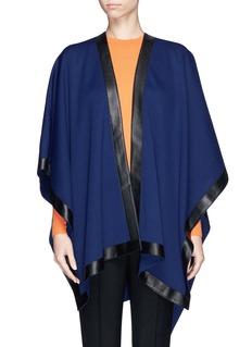 ST. JOHNCalf leather trim wrap cape