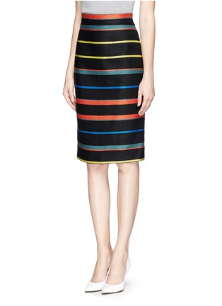 Front View - Click To Enlarge - Givenchy - Basket weave stripe pencil skirt