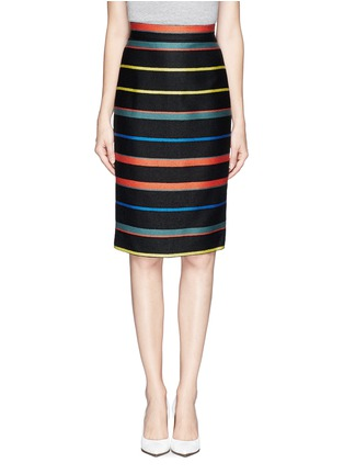Main View - Click To Enlarge - Givenchy - Basket weave stripe pencil skirt