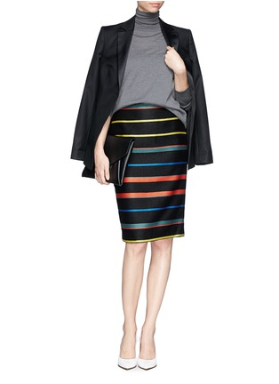 Figure View - Click To Enlarge - Givenchy - Basket weave stripe pencil skirt