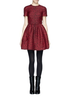 VALENTINO Leopard print wool-silk dress