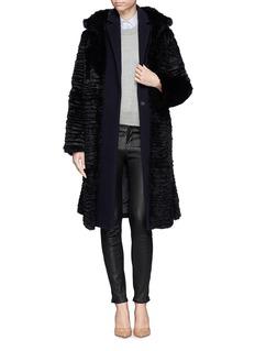 ARMANI COLLEZIONIVelvet tie rabbit fur coat