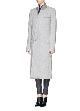 Front View - Click To Enlarge - Haider Ackermann - Extra long slant front wool blend coat
